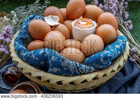 Hen / Fresh Chicken Eggs On Basket. Nutrition Concept, Selective Focus.