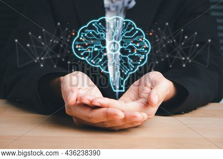 Artificial Intelligence Ai, Business Woman Hand Holding Holographic Brain Artificial Intelligence (a