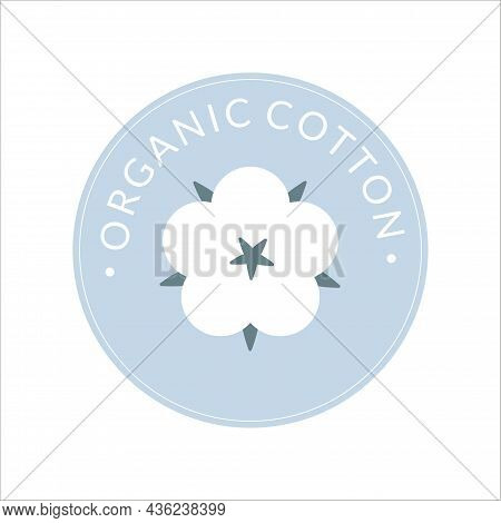 Cotton Label, Organic Cotton Sign With Delicate Pastel Colors Isolated On White Background.