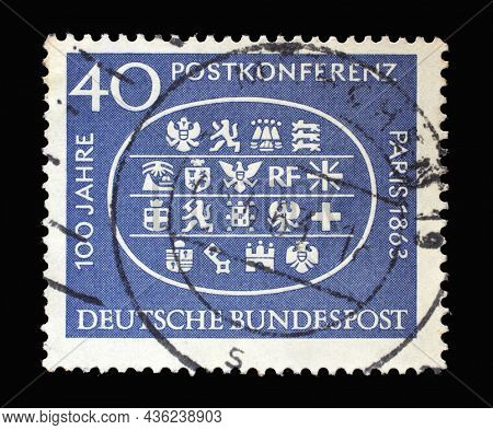 ZAGREB, CROATIA - JUNE 27, 2014: Stamp printed in Germany shows Arms of 18 Participating Countries, 1st International Postal Conference in Paris, 1863, circa 1963