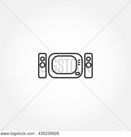 Home Theater Line Icon On White Background