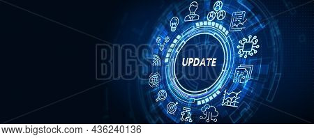 Business, Technology, Internet And Network Concept. Update Software Computer Program Upgrade 3d Illu