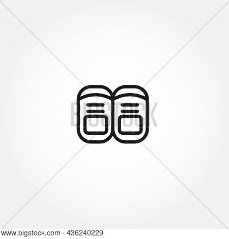 Baby Shoes Line Icon On White Background. Baby Shoes Line Icon On White Background.