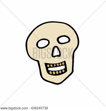 Doodle Halloween Scull. Laughing Skeleton Isolated On White Background. Hand-drawn Scary Cranium. My