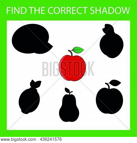Find A Shadow Apple Steam Room. Match Fruit With Correct Shadow Preschool Worksheet, Kids Activity W