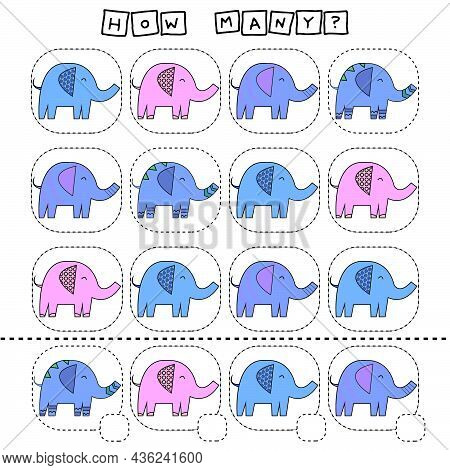 How Many Counting Game With Funny Elephants . Worksheet For Preschool Kids, Kids Activity Sheet, Pri