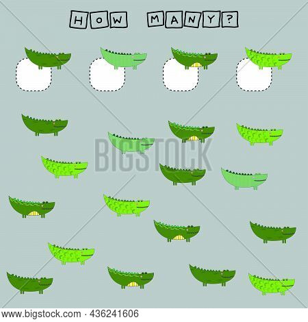 Counting Game For Preschool Children.  Count How Many Crocodiles