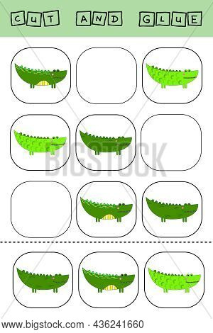Sudoku For Kids With Funny Forest Animals Crocodiles. Children's Puzzles. Preschool Worksheet, Kids
