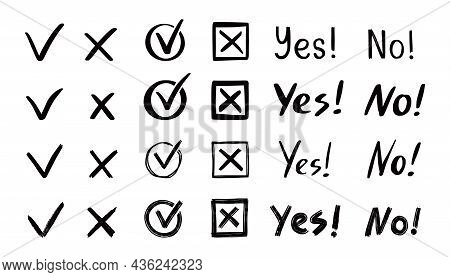 Check And Cross Mark Set. Hand Drawn Doodle Sketch Style. Vote, Yes, No Drawn Concept. Checkbox, Cro