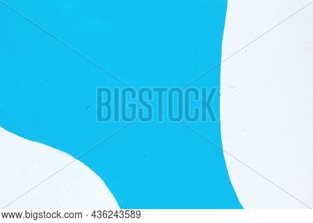 Closeup Of Colorful Blue, Gray And White Urban Wall Texture. Modern Pattern For Wallpaper Or Mockup