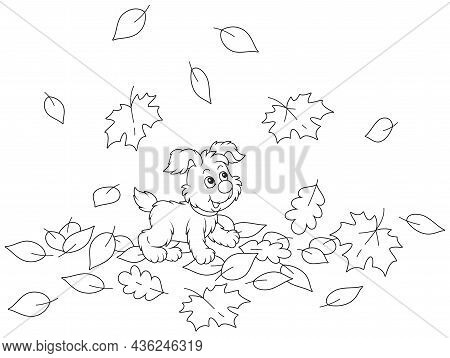 Cute Little Puppy Walking On Fallen Autumn Leaves Around A Park, Black And White Outline Vector Cart