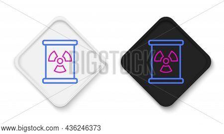 Line Radioactive Waste In Barrel Icon Isolated On White Background. Toxic Refuse Keg. Radioactive Ga