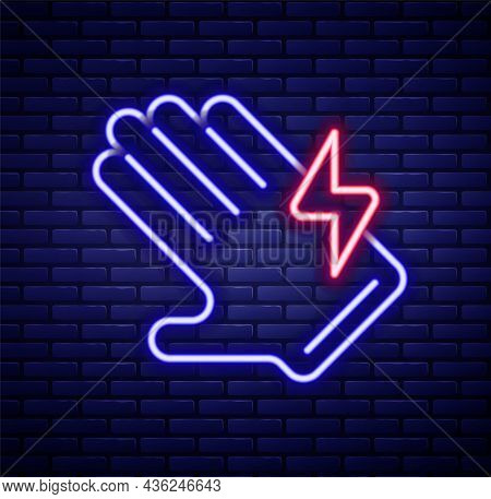 Glowing Neon Line Electric Glove Icon Isolated On Brick Wall Background. Safety Gloves, Hand Protect
