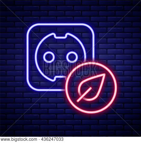 Glowing Neon Line Electrical Outlet Icon Isolated On Brick Wall Background. Alternative Energy. Clea