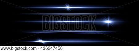 Red Horizontal Lens Flares Pack. Laser Beams, Horizontal Light Rays. Beautiful Light Flares. Glowing
