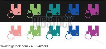 Set Carton Cardboard Box Icon Isolated On Black And White Background. Box, Package, Parcel Sign. Del