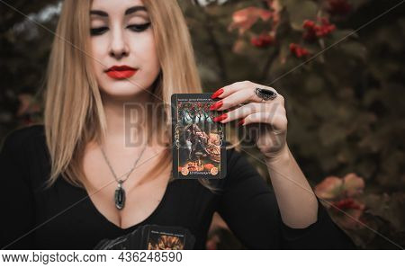 Witch Woman Predict Future With A Card, Mystical Style. Gypsy Lady With A Magical Stuff, Esoteric An