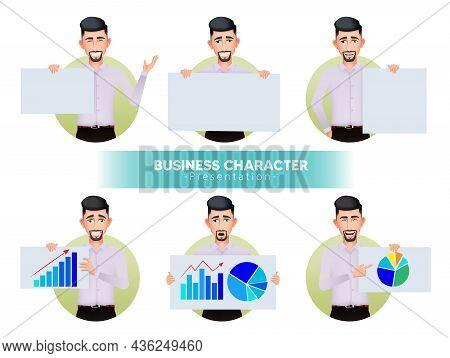 Businessman Character Presentation Vector Set. Business Man Presenting Characters Holding And Showin