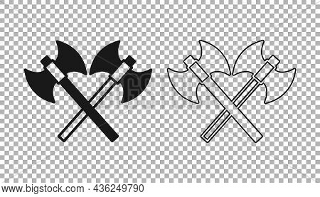 Black Crossed Medieval Axes Icon Isolated On Transparent Background. Battle Axe, Executioner Axe. Me