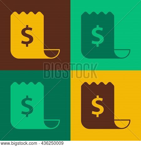 Pop Art Paper Check And Financial Check Icon Isolated On Color Background. Paper Print Check, Shop R