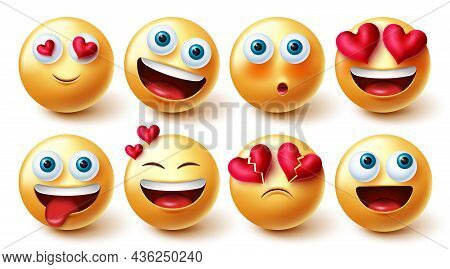 Emojis In Love Vector Set. 3d Love Emoji Characters With Hearts Element In Smiling And Blushing Face