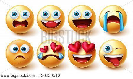 Emojis Character Vector Set. Emoji Characters Funny, In Love, Upset And Crying Isolated In White Bac