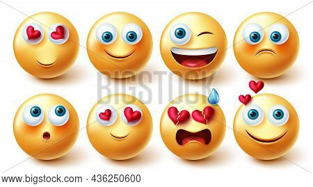 Emojis Character Vector Set. Emoji 3d In Happy And Inlove Facial Reactions And Expression Isolated I