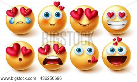 Emoji Valentines Vector Set. Emojis Characters In 3d Inlove, Blushing And Happy Emotions And Reactio