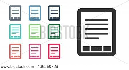 Black E-book Reader Icon Isolated On White Background. Set Icons Colorful. Vector