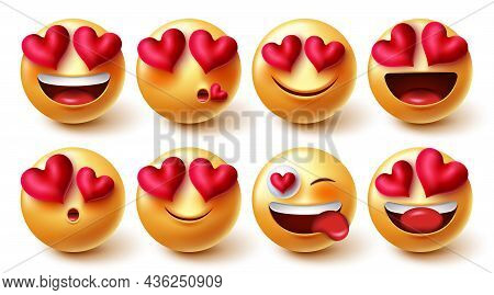 Emojis Valentines Lovely Character Vector Set. Emoji Characters Inlove And Happy Facial Expressions