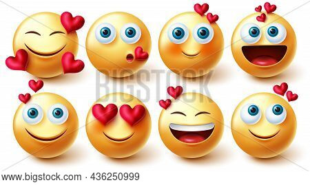 Emojis Valentines Vector Set. Inlove 3d Emoji Characters With Hearts Element In Yellow Faces Reactio