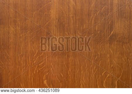 Old Brown Rustic Cut Wooden Board Texture With Tiny Scratches On Surface As Background. Blank Wooden