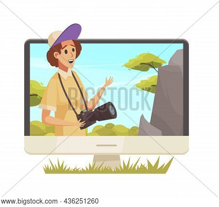 Caroon Icon Of Blogger With Camera Outdoors On Computer Monitor Vector Illustration