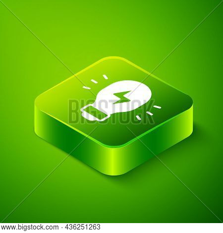 Isometric Creative Lamp Light Idea Icon Isolated On Green Background. Concept Ideas Inspiration, Inv