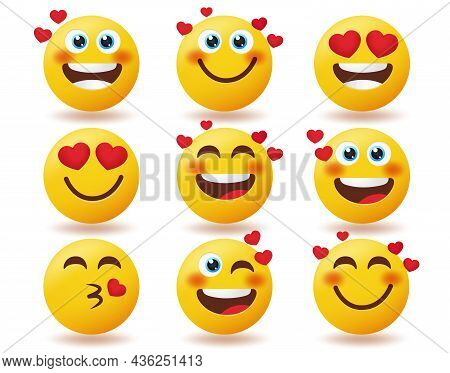 Emoji Emoticon Vector Set. Emoticons Character Happy, Thinking And Crying Isolated In White Backgrou