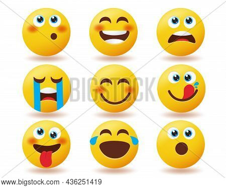 Emoji Valentines Inlove Emoticon Vector Set. Emoticons Love Characters In Smiling Blushing And Kissi