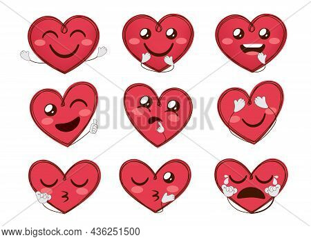 Heart Emoji Valentines Vector Set. Emoticons Character Hearts With Inlove Facial Expressions And Han