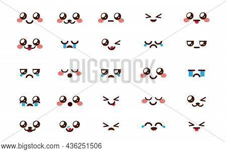 Kawaii Emoticon Chibi Vector Set. Emoji Cartoon Emoticons Face In Facial Reactions And Expressions I