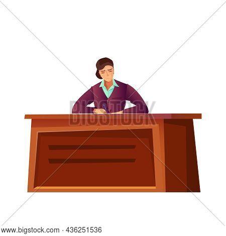 Woman Politician Writing At Desk Flat Icon Vector Illustration