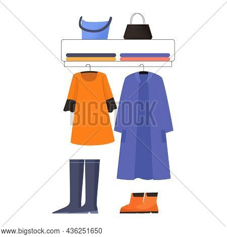 Flat Design Clothing Shop Display Icon With Coat Dress Shoes Bags For Women Vector Illustration