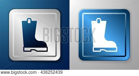 White Waterproof Rubber Boot Icon Isolated On Blue And Grey Background. Gumboots For Rainy Weather,