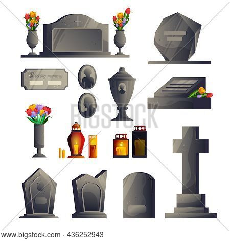 Cemetery Gravestone Modern Icon Set Gray Gravestones Of Different Sizes And Shapes With And Without