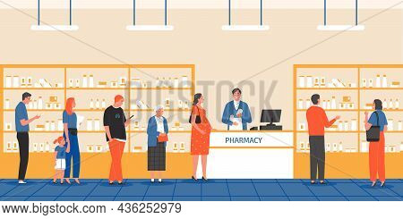 Queue Pharmacy Composition With Indoor View Of Apothecary Store And Human Characters Standing In Lin