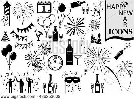 Set Of Happy New Year Icons - Black Illustrations Isolated On White Background As Festive Design Ele