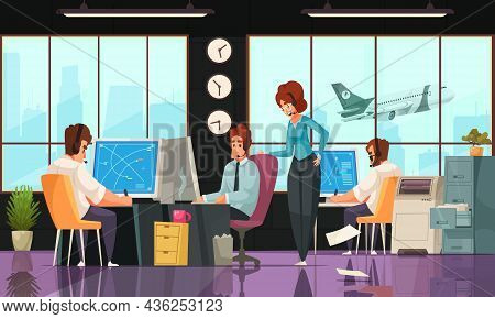 Airport Flight Control Service Workplace Interior Cartoon Composition Controllers Monitoring Aircraf