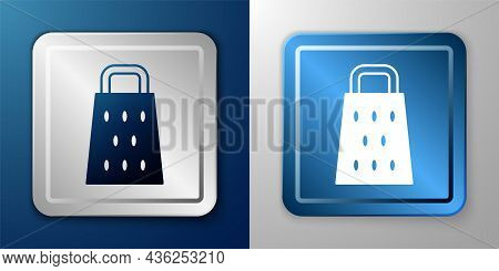 White Grater Icon Isolated On Blue And Grey Background. Kitchen Symbol. Cooking Utensil. Cutlery Sig