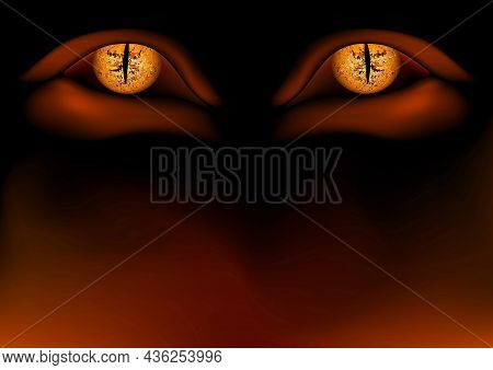 Terrible And Spooky Demonic Eyes With Light Effect - Hell Dark Background With Burning Gradient Colo