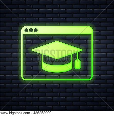 Glowing Neon Online Education And Graduation Icon Isolated On Brick Wall Background. Online Teacher