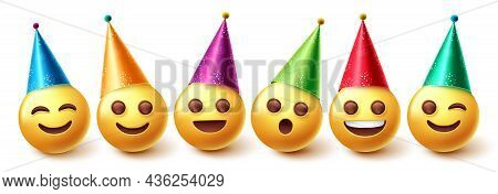 Emojis Birthday Characters Vector Set. Emoji In Party Hats Birthday And Event Celebration With Happy