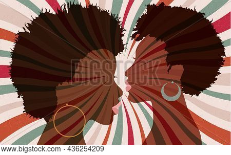 Portrait Silhouette 2 Faces Of Female African American Profile Women With Funky Hair And Hoop Earrin